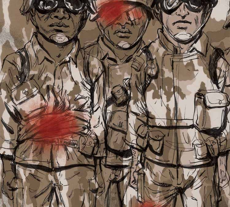 Covering up Wounded Soldiers Illustration