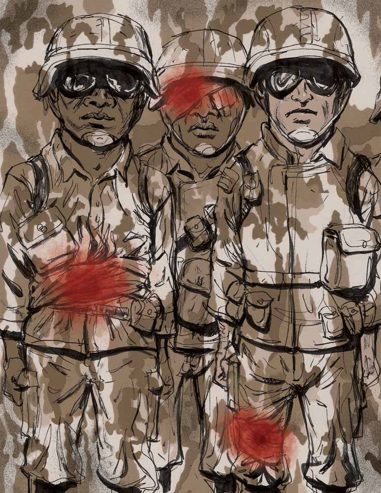 Covering Up Wounded Soldiers Illustration Seltzer