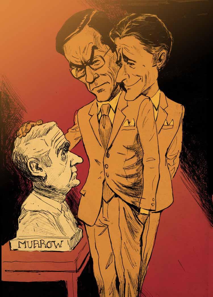John Stewart and Stephen Colbert Contemplating a Bust of Murrow