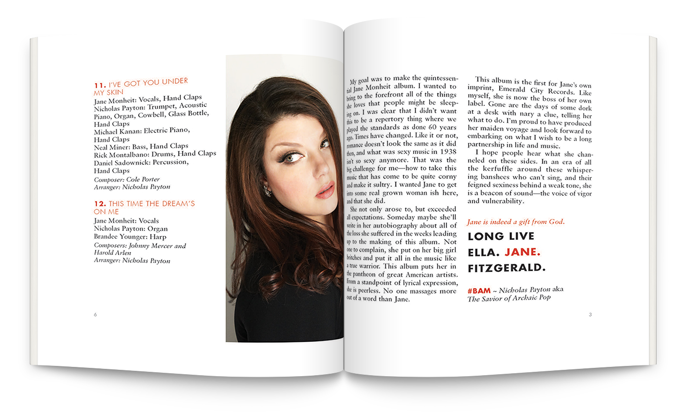 Jane Monheit's Booklet sample page